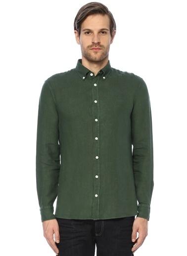 Beymen Collection Uzun Kollu Keten Gömlek Yeşil